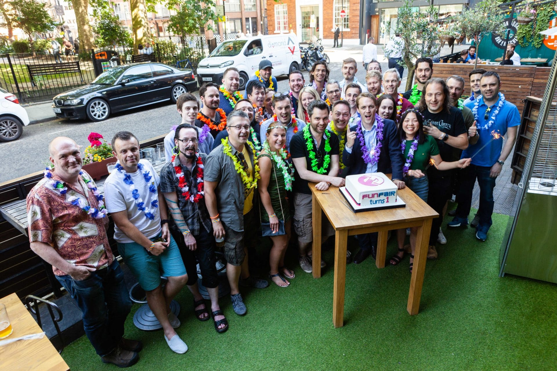 FunFair team photo at one year anniversary party